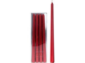 Набор свечей 4шт, 30cm, красный металлик