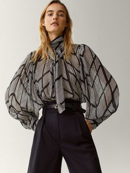 Блуза Massimo Dutti Черно-белый 5114/836/800