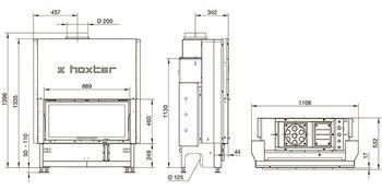 Каминная топка - HOXTER HAKA 89/45Wh - с водяным теплообменником подъемным механизмом