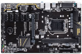 GIGABYTE GA-H110-D3A, Socket 1151, Intel® H110, Dual 2xDDR4-2400, CPU Intel graphics, 1xPCIe X16, 4xSATA3, 1xM.2 slot, 5xPCIe X1, 2x PCIe Power Connectors, ALC887 7.1ch HDA, Gigabit LAN, 4xUSB3.0, Perfect for Mining, ATX