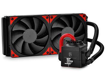 "DEEPCOOL Liquid Cooler  ""CAPTAIN 240 EX"", Socket 775/1150/1151/1155/2011 & FM2/AM3, up to 220W, 2x TF120 fan with Red LED :120х120х25mm, 240mm aluminum fins, fans: 500~1800rpm, pump: 2200rpm, 17.6~31.3dBA, 153.04CFM, 4 pin, Hydro Bearing, Copper base"
