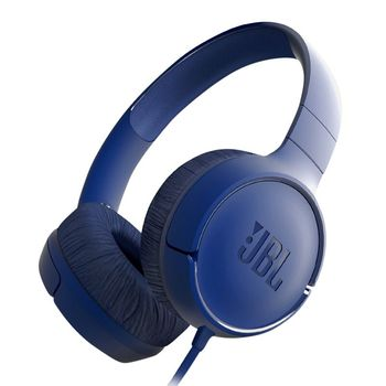 JBL TUNE 500 / On-ear Headset with microphone, Dynamic driver 32 mm, Frequency response 20 Hz-20 kHz, 1-button remote with microphone, JBL Pure Bass sound, Tangle-free flat cable, 3.5 mm jack, Blue