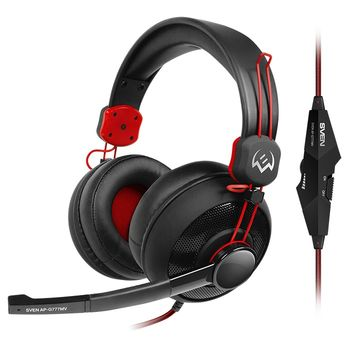 SVEN AP-G777MV, Gaming Headphones with microphone, 3.5mm (4 pin) or 2*3.5 mm (3 pin) stereo mini-jack, volume control on the cable, Non-tangling cable with fabric braid, Cable length: 1.2m + 1m (adapter for PC), Black/Red