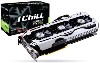 INNO3D / iChiLL GeForce GTX 1070 X4 / 8GB DDR5, 256bit, 1822/8200Mhz, DVI, HDMI, 3x DisplayPort, Triple Fan - iChiLL X4 Solution (Active Power Cooling System), IDLE mode, Performance LED Indicators, Inside the Box: Mouse Pad + 3D Mark/VR Mark