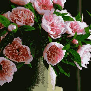 """PN2020 Картина по номерам Artissimo """"Пионы розовые"""", 4 *, 20 цветов, 40x50 см."""