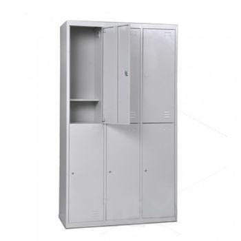 cumpără Dulap metalic pentru haine cu 6 uși, 2050x1140x450 mm, RAL7035 în Chișinău