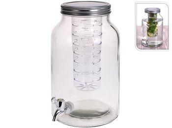 Банка стеклянная с краном и емкостью для льда 4l, D18cm