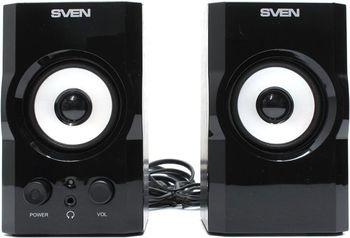 """Speakers SVEN SPS-605 Black,  2.0 / 2x3W RMS, headphone jack, wooden,  2.5"""""""