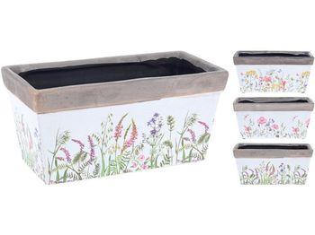 """Вазон для цветов керамический """"Трава и цветы"""" 20.8X10.5X10cm"""