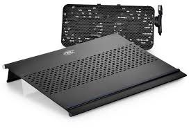 """DEEPCOOL """"E-MOVE"""", Notebook Cooling Pad up to 15.6"""", 2 Movave fan - 1000mmwith fan speed control button, 1100-1800rpm, <23-26dBA, 20.3-35CFM,Pure Aluminum Panel, Modular Cooling Fan Design,  Black"""