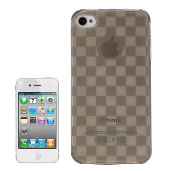 Чехол прозрачный в клетку для iPhone 4 / 4S серый
