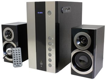 "Speakers SVEN MS-1090 Black,  2.1 / 18W + 2x11W RMS, USB & SD card Input, remote control, all wooden, (sub.4.5"" + satl.(3""+1""))"