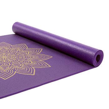 Коврик для йоги Bodhi Yoga Rishikesh Premium 60 with golden Mandala PURPLE