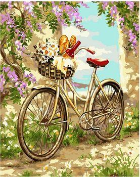 Картина по номерам 40x50 Велосипед в саду VA1286