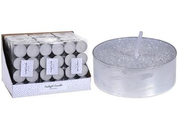 Свечи чайные c гллитером 8шт, 12g, белый