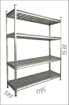 купить Стеллаж оцинкованный металлический Gama Box  1195Wx580Dx1530H мм, 4 полки/МРВ в Кишинёве