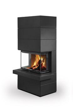 Дизайнерская аккумуляционная каминная печь ROMOTOP CARA C N 03 - с выдвижной подъемной дверцей