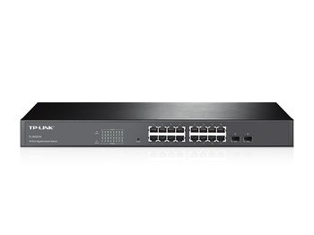 TP-LINK TL-SG2216, 16-port Pure-Gigabit Smart Switch, 16 10/100/1000Mbps RJ45 ports including 2 combo SFP  slots, Tag-based VLAN, STP/RSTP/MSTP, IGMP V1/V2/V3 Snooping, 802.1P Qos, Rate Limiting, Port Trunking, Port Mirroring, SNMP, RMON