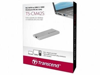 """.M.2 Комплект корпуса SATA SSD """"TS-CM42S"""" USB3.1, (только для типа 2242) Легкий прочный алюминий"""