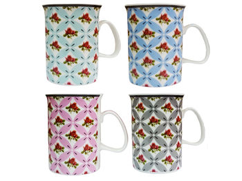 Чашка 350ml с цветочным орнаментом, керамика