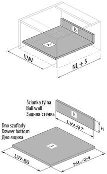 Modern Box Square alb L-350 H-146 deschidere totală cu amortizor