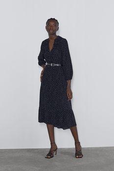 Платье ZARA Чёрный в горошек 9878/194/800