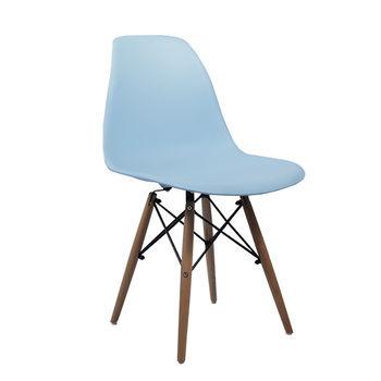cumpără Scaun din plastic cu picioare de lemn cu suport metalic, 510x470x830mm, albastru în Chișinău
