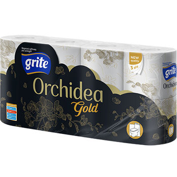 купить GRITE - Туалетная бумага ORCHIDEA GOLD  3 слоя 8 рулона 21,25м в Кишинёве