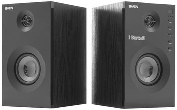 SVEN SPS-615 Black,  2.0 / 2x10W RMS, Bluetooth v. 2.1 +EDR, USB flash, SD card, remote control, Headphone input, glossy black front panels, wooden.