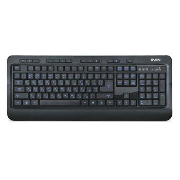 SVEN Comfort 7600 EL, Multimedia Keyboard, 13Fn-keys, USB, Black