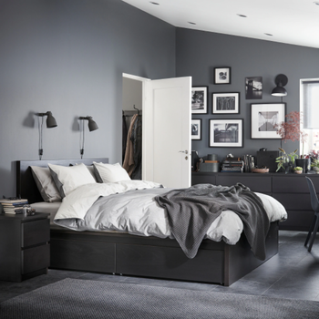 Кровать Linia -  черный ясень
