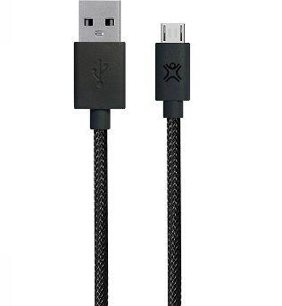 Cable microUSB2.0 1.2m - XtremeMac Reversible microUSB Premium cable, USB 2.0 A-plug C-plug, PET structure, Gold plated connectors, Black