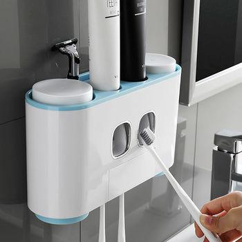 купить Дозатор зубной пасты, держатель зубных щеток для ванной, семейный диспенсер (серый) в Кишинёве