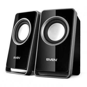 "SVEN 355 Black (USB),  2.0 / 2x2,5W RMS, USB power supply, headphone jack, Glossy black surface, 2.6"""