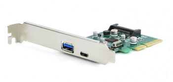 PCI-E Card - Gembird PEX-U31-01, 2-port USB 3.1 PCI-Express add-on card (type-A + type-C), with extra low-profile bracket