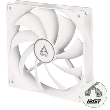 Case/CPU FAN Arctic P12 PWM PST, Pressure-optimised Fan with PWM PST, White/White, 120x120x25 mm, 4-Pin-Connector + 4-Pin-Socket, 200-1800rpm, Noise 0.3 Sone, 56.3 CFM (95.7 m3/h) (ACFAN00170A)