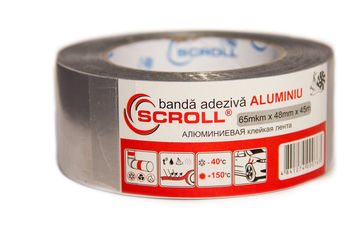 "SCROLL ""ALUMINIU""  Banda adeziva pe suport de aluminiu 48mm*45m"