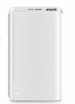 10000mAh Power Bank - ZMI powerbank 10K, White, Plastic case, 9 protective layers, Input (MicroUSB/USB-C): 5.0V=2.0A / 9.0V=2.0A/ 12.0V=1.5A, Output (USB-A): 5.1V=2.4A/ 9.0V=1.6A/ 12.0V=1.2A, Two-way Quick Charge