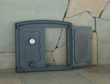 Дверца чугунная глухая двустворчатая с термометром BATUMI II