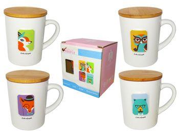 купить Чашка 350ml +крышка/подставка под чашку деревянная в Кишинёве