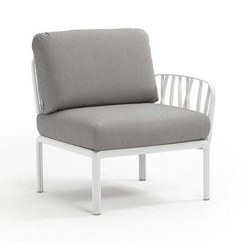 Кресло модуль правый / левый с подушками Nardi KOMODO ELEMENTO TERMINALE DX/SX BIANCO-grigio 40372.00.163