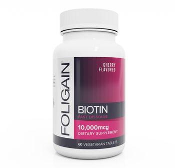 BIOTIN Hair Booster 10,000mcg Fast Dissolve (Cherry Flavor) 60 Vegetarian Tablets