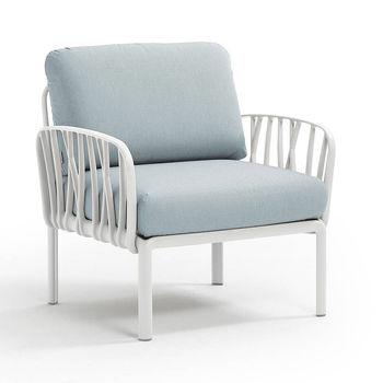 Кресло с подушками для сада и терас Nardi KOMODO POLTRONA BIANCO-ghiaccio Sunbrella 40371.00.138