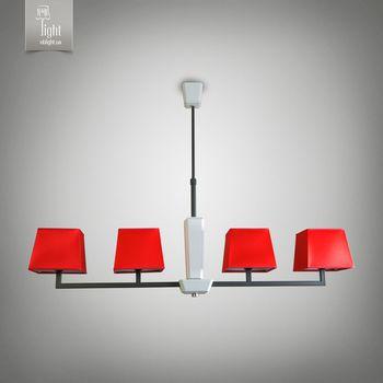 N&B Light Люстра Атланта 14106-2 красный, черная структура/белое дерево
