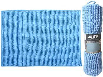 Коврик для ванной комнаты 40X60cm Chenille голубой, микрофи