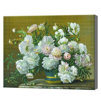 Белый букет, 40x50 см, aлмазная мозаика
