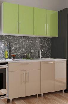 Кухонный гарнитур Bafimob Mini (High Gloss) 1.6m Cappuccino/Green