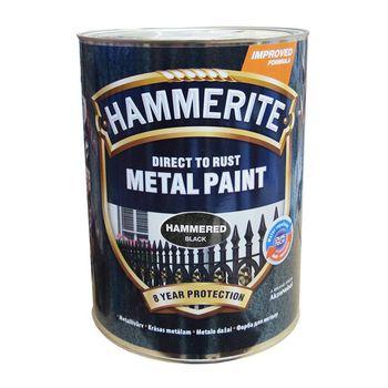Hammerite Краска для металла Черная молотковая 5л