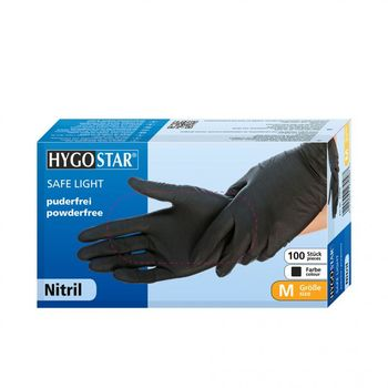 Перчатки NITRIL SAFE LIGHT, размер M, ЧЕРНЫЕ, 100шт, HYGOSTAR, FM