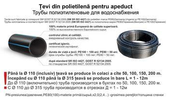 купить Труба ф. 125/PN10 PE100 SDR17 x 7,4 SM SR ISO4427/GOST * в Кишинёве